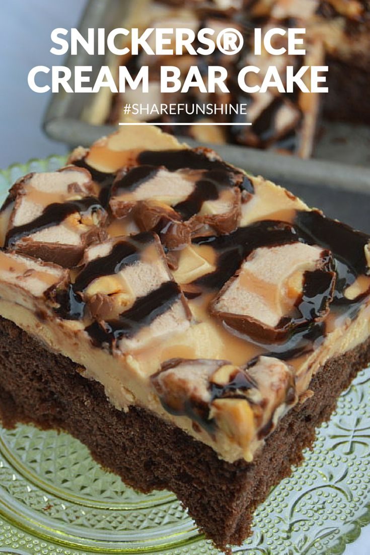 SNICKERS® Ice Cream Bar Cake Recipe #ShareFunshine #ad | mybigfathappylife.com