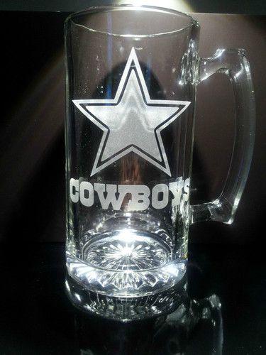 Etched Dallas Cowboys Beer Mug Ebay Dallas Cowboy