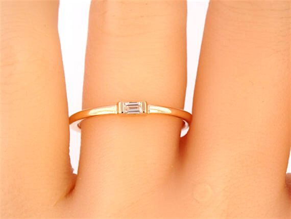 14K Rose Gold Single Baguette Diamond Band Wedding Band Anniversary Band Stackable Band Art Deco Band Promise Band Rose Gold White Gold 18K by SellerOfJewels on Etsy https://www.etsy.com/listing/266457837/14k-rose-gold-single-baguette-diamond
