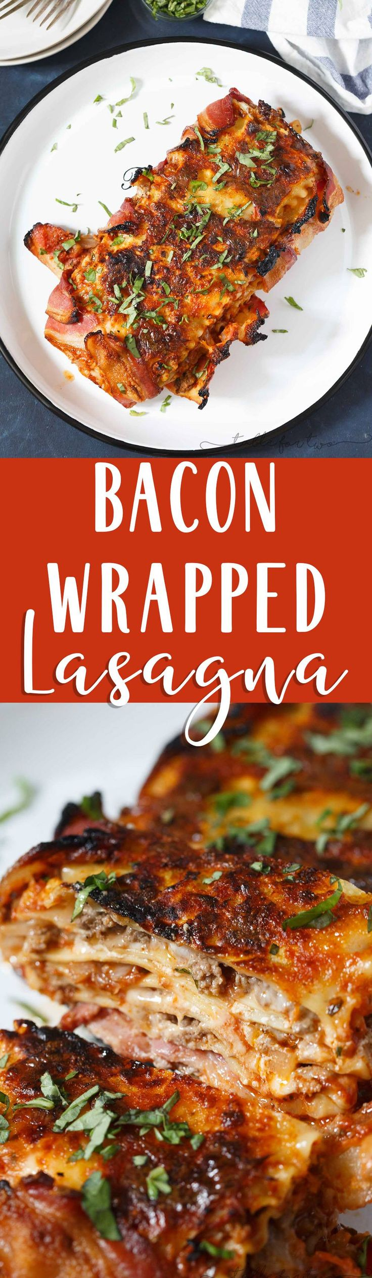 Who could say no to bacon wrapped lasagna? Once you have a bite of this, you will won't want to make lasagna any other way! This is such an awesome, decadent spin on the classic and traditional lasagna!