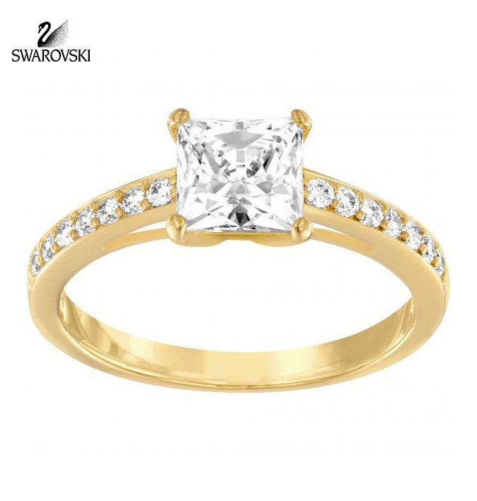Swarovski Square Clear Crystal Engagement Ring ATTRACT Gold Plated