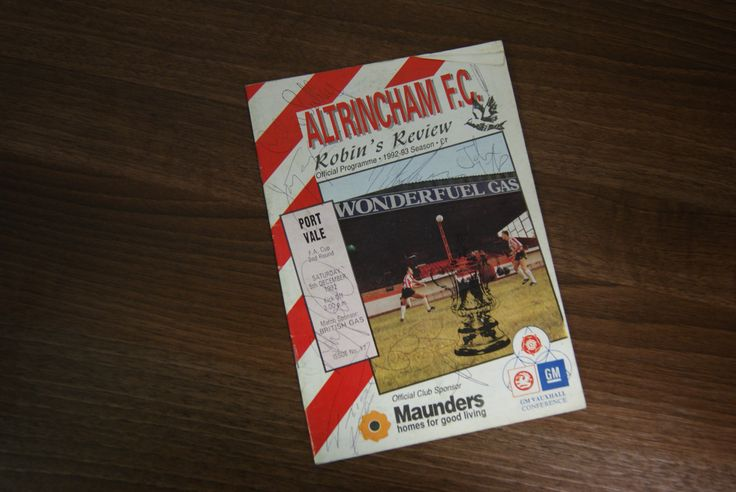 Signed programme from Vale's 4-1 FA Cup win over Altrincham FC, Sat 5th Dec 1992