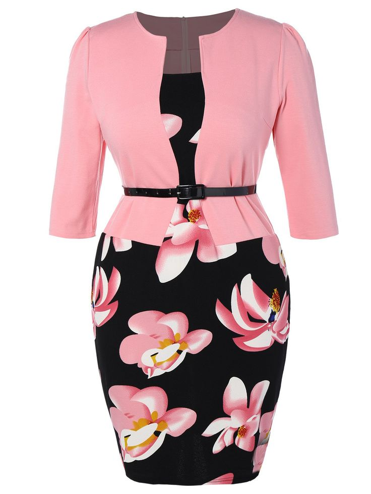 Floral Printed Belted Plus Size Dress in Pink | Sammydress.com