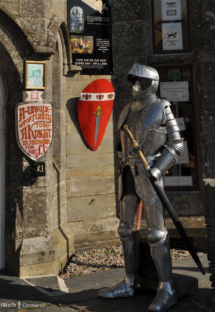 Suit of armour outside King Arthur's Great Halls, Tintagel, Cornwall