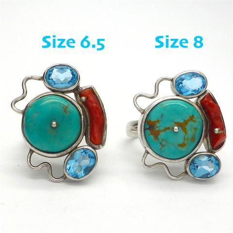 Ring Tibetan Turquoise, Red Coral & Blue Topaz  | 925 Sterling Silver | US Size 6.5 and 8 | Crystal Heart Melbourne Australia since 1986