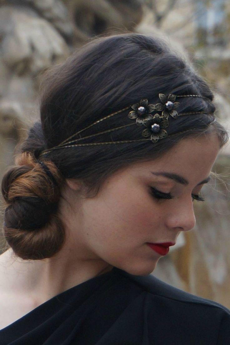 Headband bijou de cheveux BOUQUET noir : Accessoires coiffure par headband-by-cup-accessories