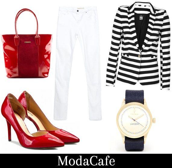 Białe jeansy - jak je nosić wiosną?  Po marynarsku, koniecznie z czerwienią. Same paski mogą wydać się nudne. Odrobina ognia jeszcze nikomu nie zaszkodziła. Usta – obowiązkowo uraczone pomadką.  Więcej na Moda Cafe!