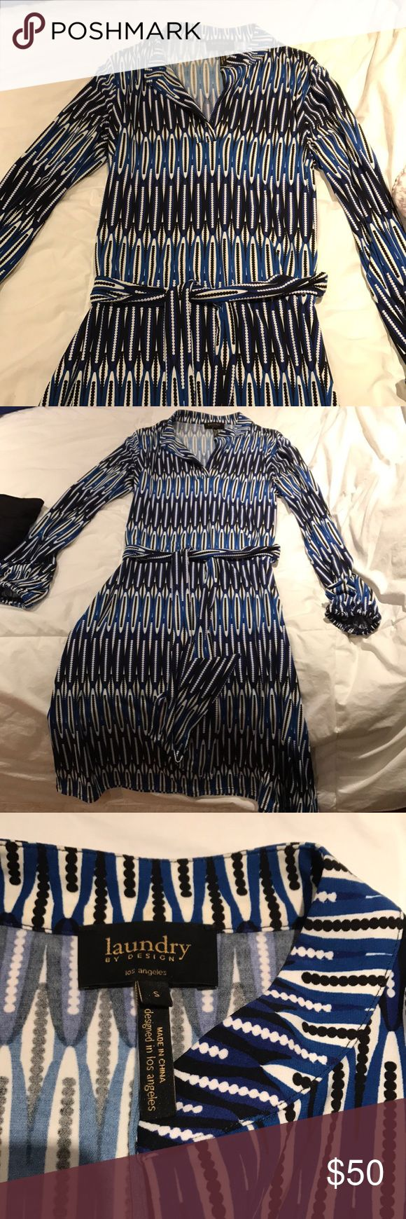 EUC laundry Dress Blue, white, and black slip on dress. Comes with tie around waist. Excellent for work! Size small. Laundry by Design Dresses
