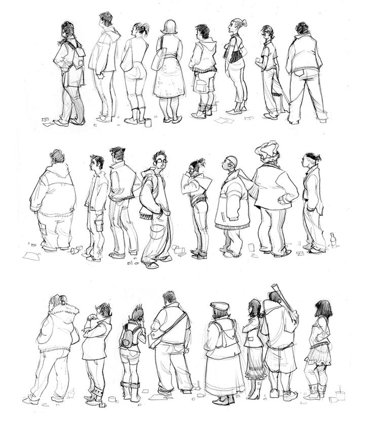 People sketches - expressive lines, and clothing give characters personality