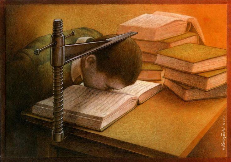 Pawel-Kuczynski-36 El error del sistema educativo. Obligados a absorber información para soltarla de golpe y no volvernos a acordar de ella nunca más.