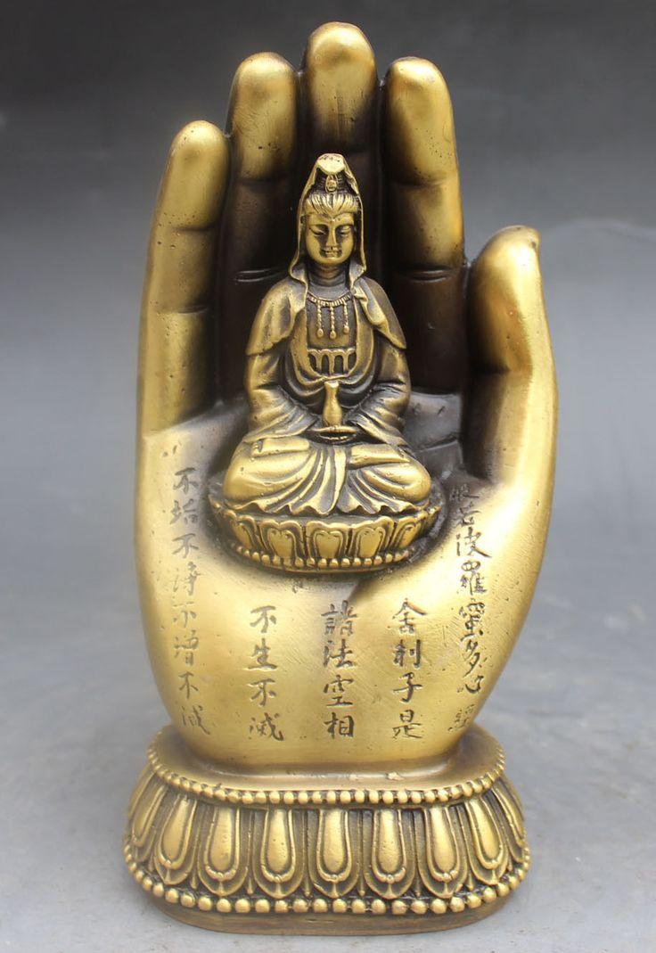 christmas Chinese Buddhism Bronze Kwan-yin Bodhisattva Goddess Hand Buddha Statue halloween