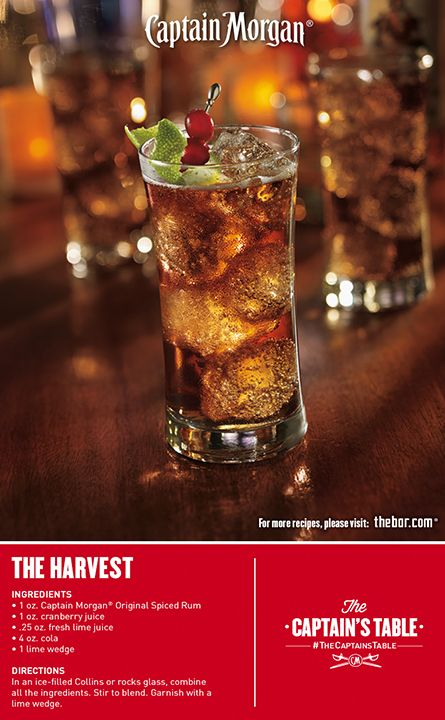 Take your party to new places with Captain Morgan The Harvest! This simple mixed drink recipe is fruity, fizzy, and fun!