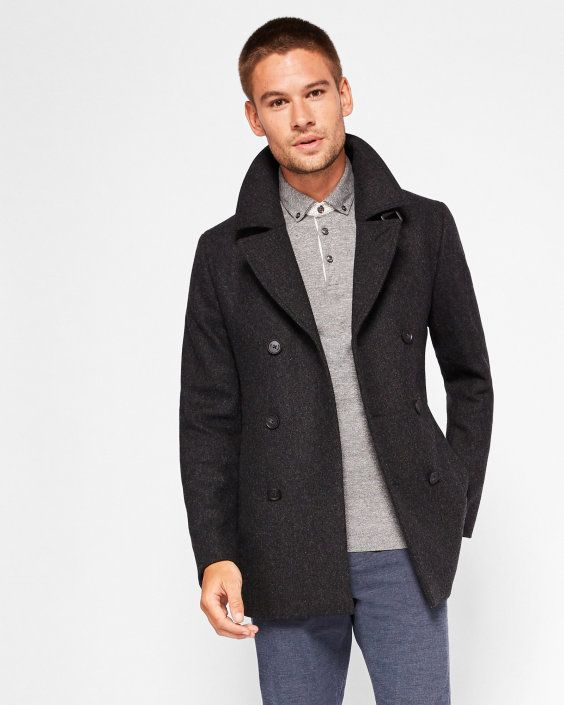 d9d58af7d2eb  575 TED BAKER Double breasted peacoat - Charcoal - Embrace the versatility  of a classic peacoat