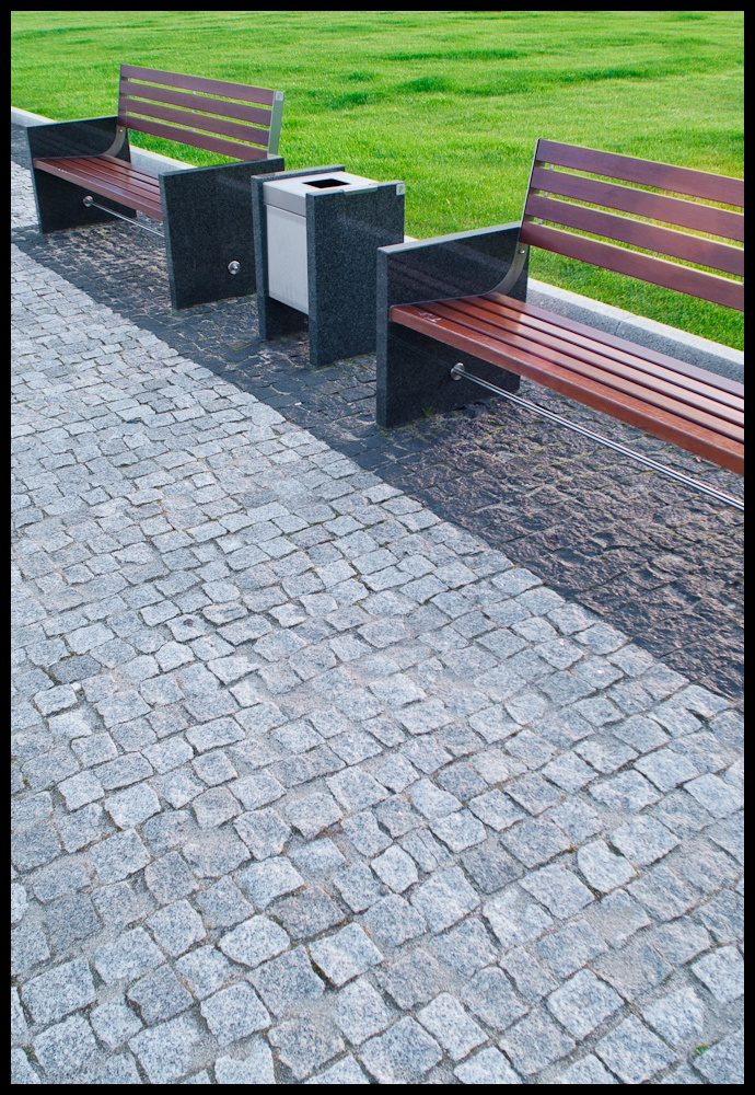 Benches and a bin