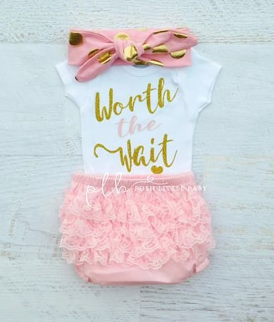 Worth the Wait Baby Onesie Bodysuit-Baby Girl Clothes, Worth the Wait, Baby Bodysuit, Coming Home Outfit, Baby Girl Set, Baby Shower Gift, Baby Shirt, Baby Girl Bodysuit, newborn outfit, take home, set, outfit