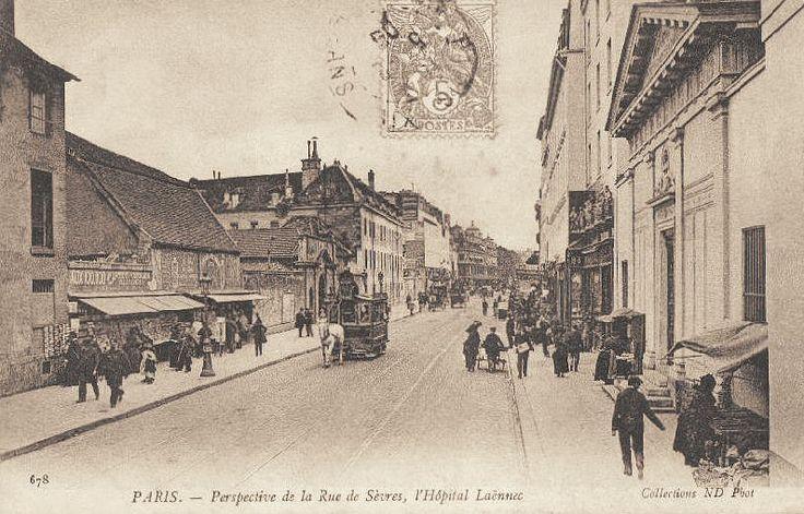 rue de Sèvres - Paris 6ème, 7ème et 15ème La rue de Sèvres et l'Hôpital Laënnec, vers 1900.