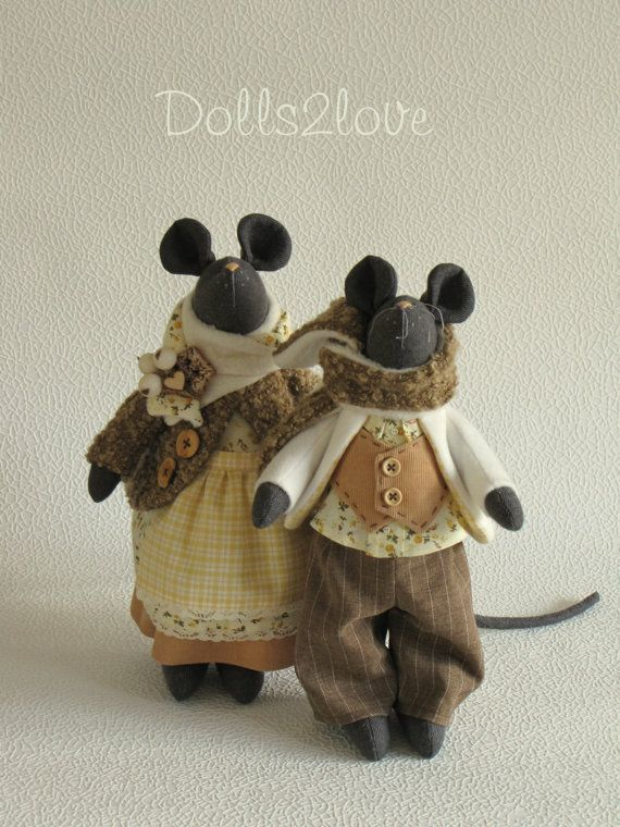 Tilda style mouse couple Flint & Flossie by Dolls2love on Etsy