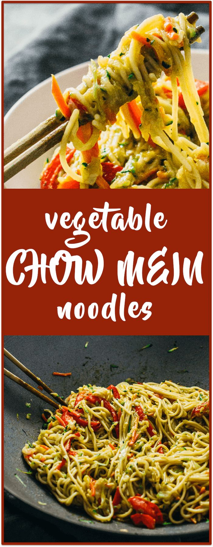 This is my family's recipe for vegetable chow mein noodles, which includes cabbage, carrots, zucchini, red bell pepper, and soy sauce. It's a healthy stir-fry as well as an easy weeknight dinner.
