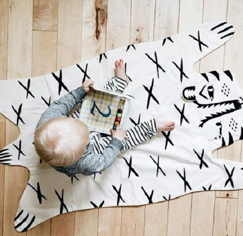 White Black Tiger Nursery Newborn Toddler Baby Blanket Rug Animal Play Mat