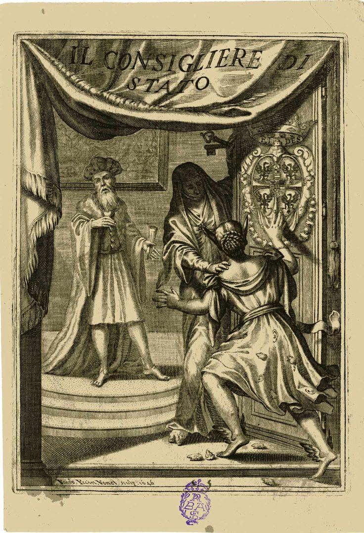 PECIN, Jacopo  IL CONSIGLIERE DI STATO Tít. en la cortina de la parte superior. Al fondo, el Consejero de Estado. En primer plano, ante una puerta labrada con un escudo coronado, La Curiosidad (joven con alas en los pies y orejas de burro, con ranas y orejas decorando su traje) se dirige a la Fidelidad (mujer con traje que le cubre por entero, con llaves en su mano izquierda), quien le rechaza.