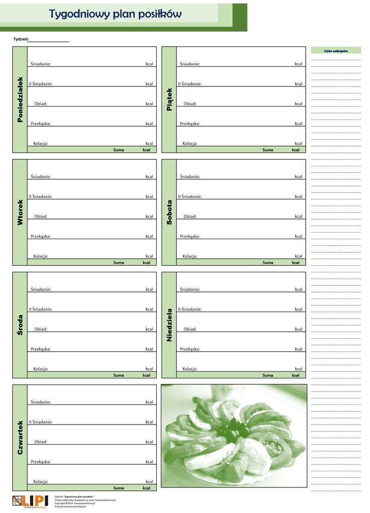 tygodniowy planer posiłków zielony