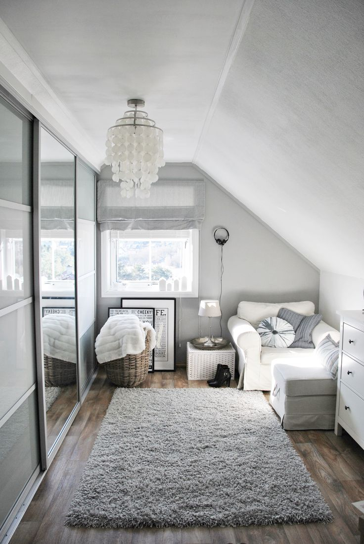 """Goood use of a small room. I like that it's not overdone. Gray and white closet inspiration. Ikea Chair """"Ektorp"""" Ike apax wardrobe with sliding doors."""