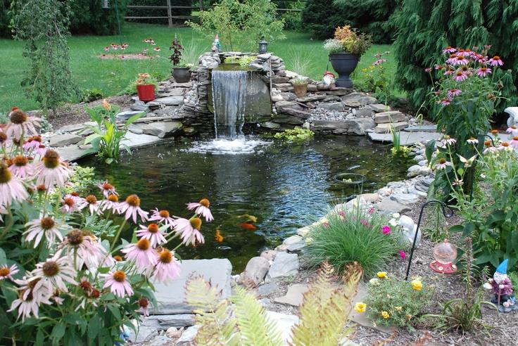 ponds...oh I like ponds: Patio Design, Gardens Ideas, Gardens Waterf, Water Gardens, Patio Gardens, Backyard Waterf, Backyard Ponds, Gardens Patio, Patio Decor