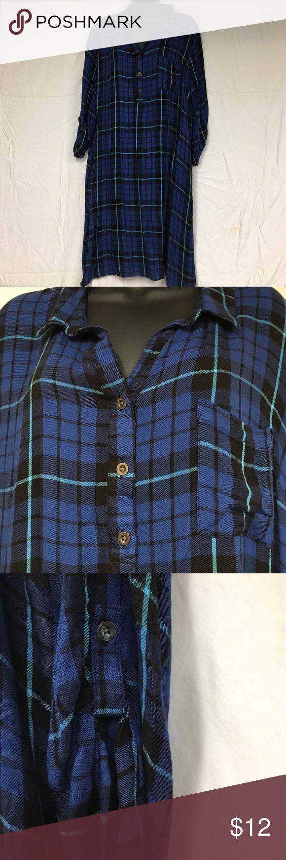 Blue & Black Flannel Shirt Dress, XL 16-18 Blue & Black Flannel Shirt Dress, XL 16-18 faded glory Dresses Midi
