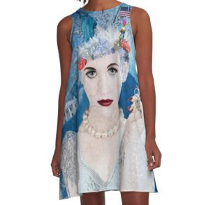 A-Line Dress - Winter has arrived! Snowflake is an anti-trump administration, political protest artwork by artist Nola Lee Kelsey. This very detailed design includes images of the US Constitution, Stature of Liberty, Lady Justice, a pink pussy hat, American flag, bang eagle, naked statue of Donald Trump along with famous government buildings in Washington DC, America's capitol, all enveloped by a blizzard.