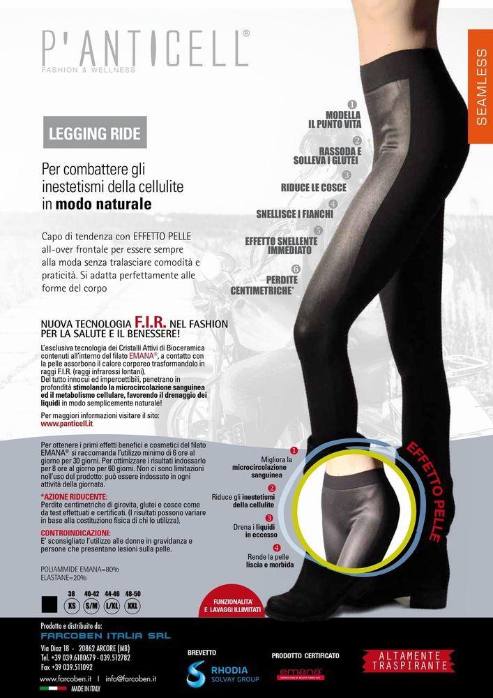 P anticell leggings effetto pelle tessuto Emana fibra bioceramica anticellulite