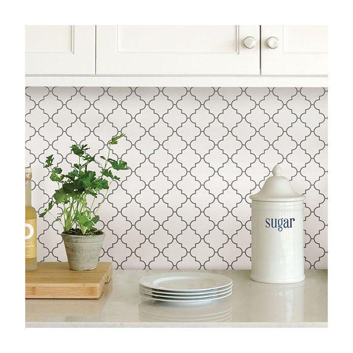 Quatrefoil 10 X 10 Resin Peel Stick Mosaic Tile In Gray White In 2021 Kitchen Backsplash Designs Backsplash For White Cabinets Kitchen Remodel Small