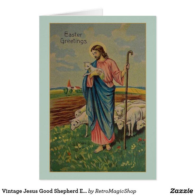 Vintage Jesus Good Shepherd Easter Card