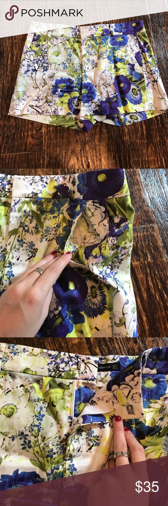 Flower printed shorts with pockets Flower printed shorts with pockets and belt loop Zara Shorts
