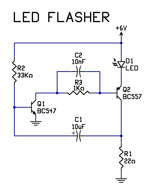 very simple 2 transistor led flasher circuit | elektronika | electronic  schematics, simple electronics, electrical circuit diagram