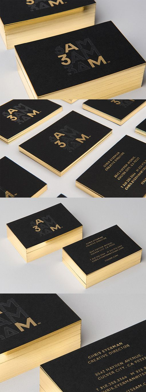 Sleek And Professional Black And Gold Foil Edge Painted Business Card Design