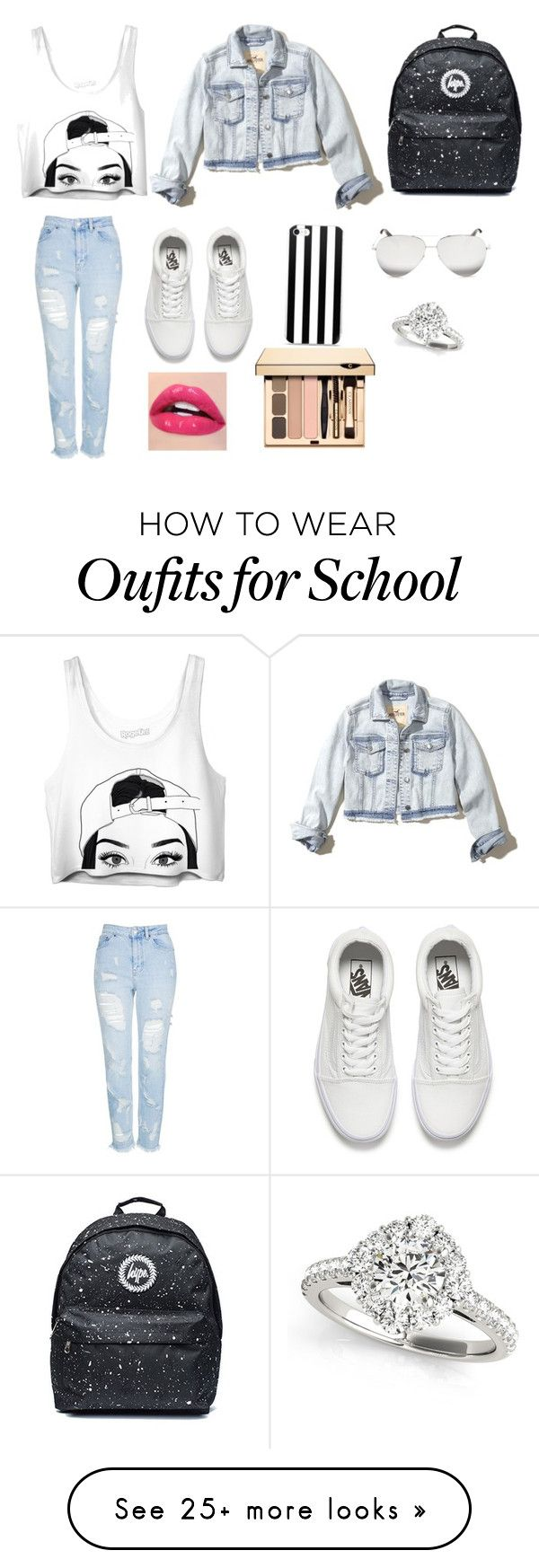 """""""Back to school #2"""" by nononononpo on Polyvore featuring Topshop, Vans, Hollister Co. and Victoria Beckham"""