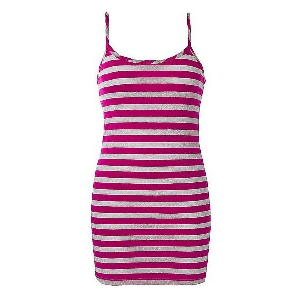 BKE Stripe Tank Top ($2.10) ❤ liked on Polyvore featuring tops, tank tops, metallic top, metallic tank, purple tank top, extra-long tank tops and metallic tank top