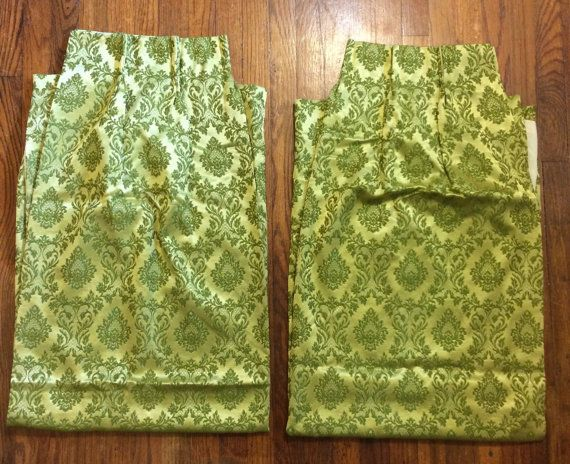 Damask curtains green set of 2 heavy fabric drapery pattern fabric castle french country