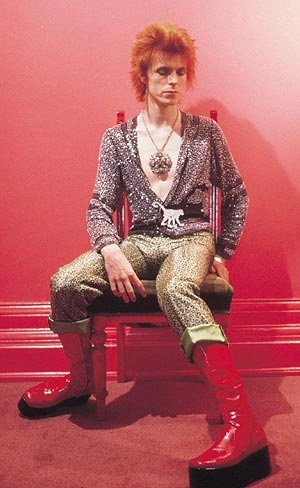 David Bowie wearing his Christmas boots.                                                                                                                                                                                 More