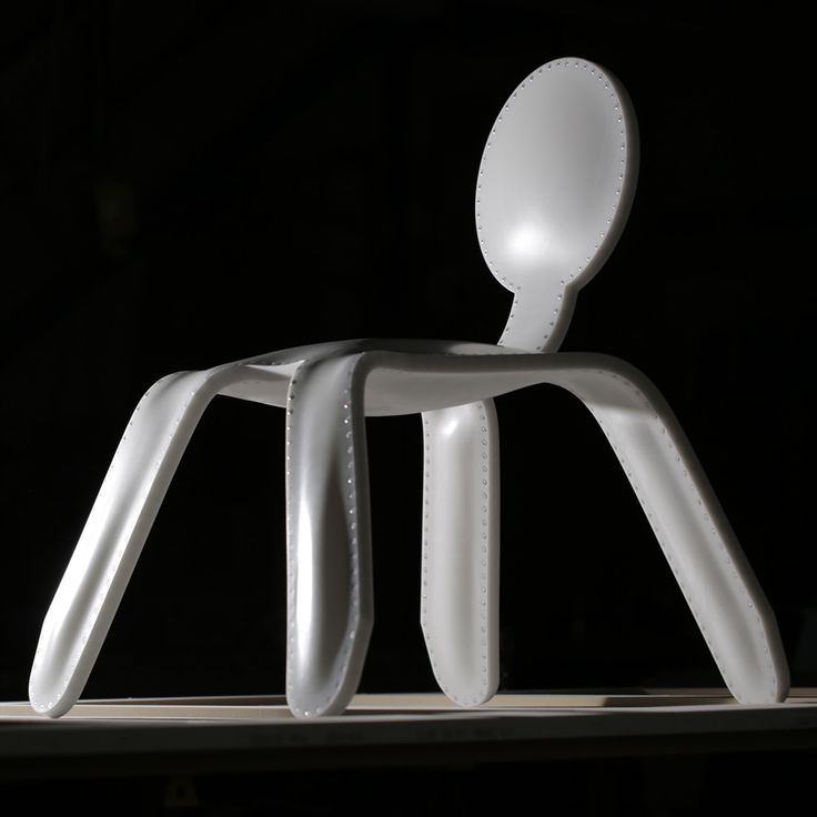 Inflated Corian chair by Rachel Harding