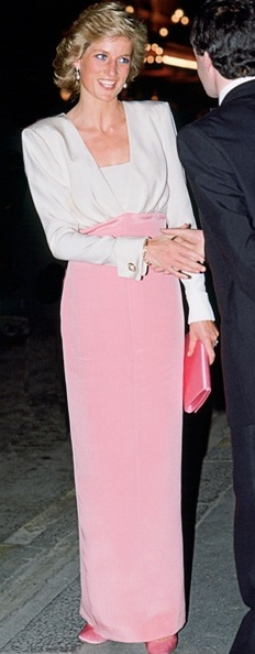 Remembering Diana, her birthday July 1st. Here in PINK VELVET CATHERINE WALKER GOWN, 1984.