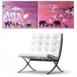Baby elephants Nursery Decor#Set of 2# Handmade animals  painting#safari wall decor#elephants nursery wall art# safari wall art