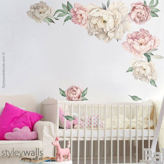 Peony Wall Decal Peonies Wall Decal Watercolor Peony Flowers