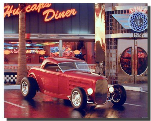 Give a new dimension to your home decor by simply adding this wonderful Vintage red ford Roadster at café diner car art print poster. This poster will definitely add a unique charm to your living space set up. This poster will be a great addition for any place. Hurry up and grab this wonderful wall poster for its durable quality and high degree of color accuracy.