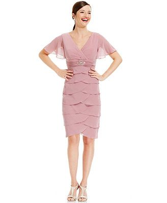 $84 Jessica Howard Petite Flutter-Sleeve Tiered Dress