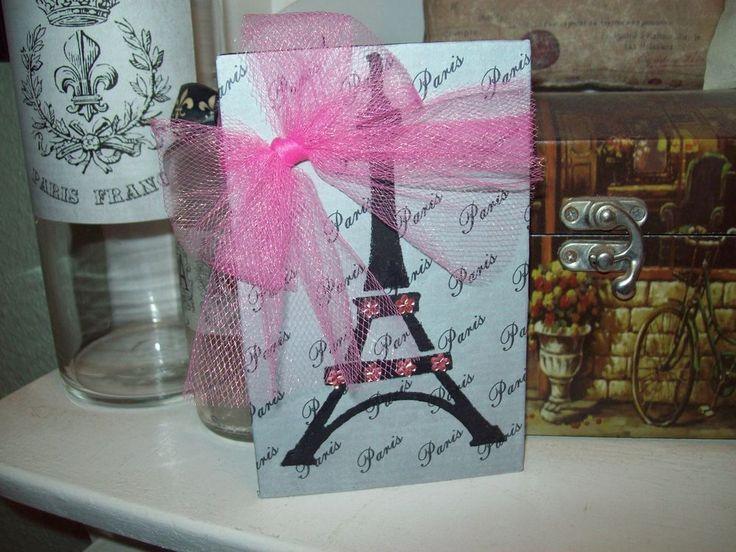 Shabby Paris chic decor gray pink Eiffel Tower block shelf sitter French cottage  | eBay