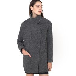 Manteau mi-long oversize, manches longues, col montant