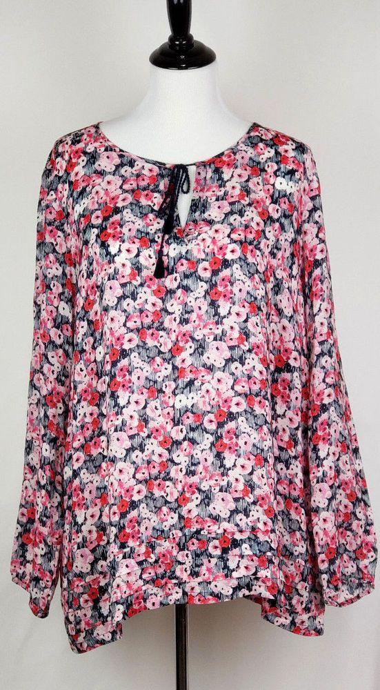 Details About J Jill Womens Sz Xl Semi Sheer Floral L S Tunic Top