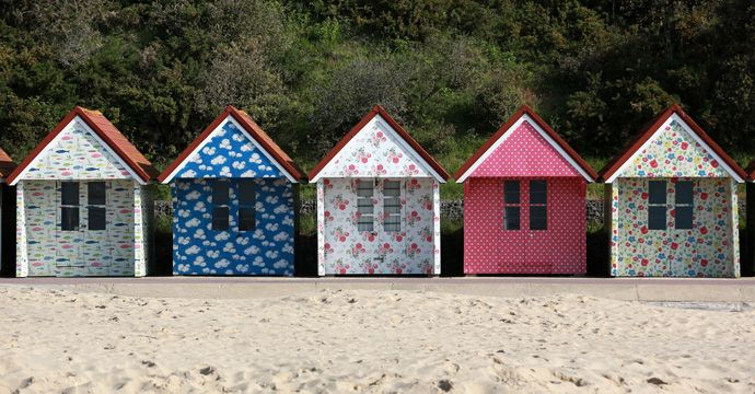 Cath Kidston-printed beach huts - Bournemouth Beach - May 2015.  #randomactsofkidston