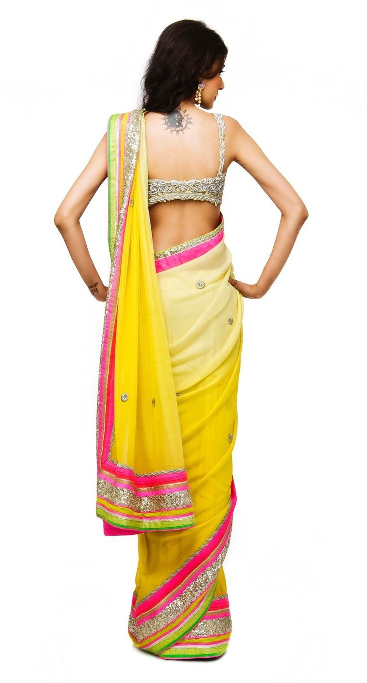 This saree is of gorgette fabric having hand embroidered blouse and available online on discounted price for a limited period